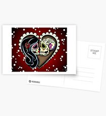 Ashes - Day of the Dead Couple - Sugar Skull Lovers Postcards