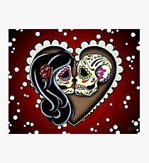 Ashes - Day of the Dead Couple - Sugar Skull Lovers Photographic Print
