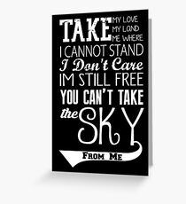 Firefly Theme song quote (white version) Greeting Card