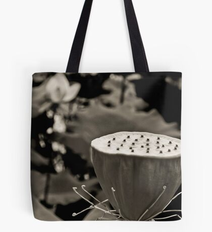 Black and White Lotus Seed Pod Tote Bag