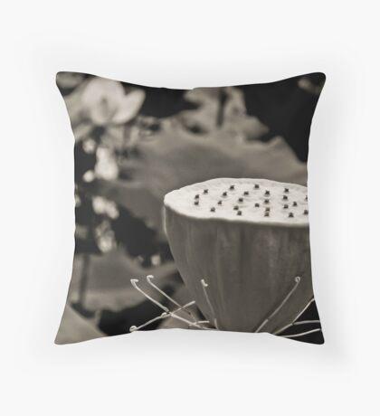 Black and White Lotus Seed Pod Throw Pillow