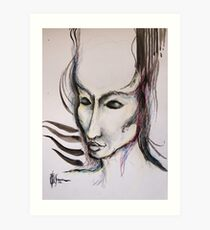 experiment with derwents and sumi ink with pen and brush Art Print