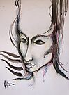 experiment with derwents and sumi ink with pen and brush by Cahl Schroedl