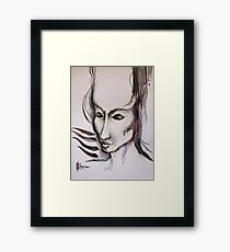 experiment with derwents and sumi ink with pen and brush Framed Print