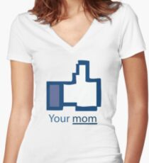 Funny Shirt - Facebook Women's Fitted V-Neck T-Shirt