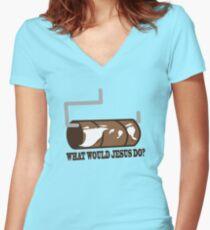 Funny Shirt - WWJD Women's Fitted V-Neck T-Shirt