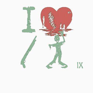 I Heart Gun Zombie by thompson9290
