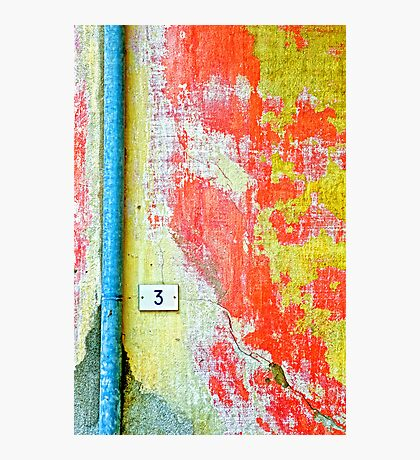 Drainpipe, amazing wall and number three Photographic Print
