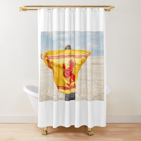 A young man with a Lion Rampant of Scotland flag Shower Curtain