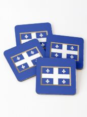 Quebec Flag Stickers, Gifts and Products Coasters