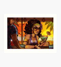 Beach Bar at Sunset Art Print