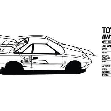 Toyota AW11 MR2 - AERO Graphic - PRINT by MK1corse