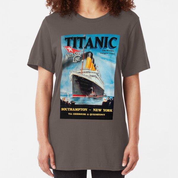 Vintage Titanic Travel Poster 1912 - White Star Line Southampton To New York Slim Fit T-Shirt Unisex Tshirt
