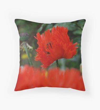 Oriental Poppy Throw Pillow