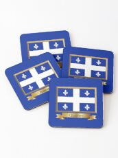 Quebec Named Flag Stickers, Gifts and Products Coasters