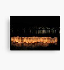 Bon Odori Lanterns Afloat on Lake Leinwanddruck