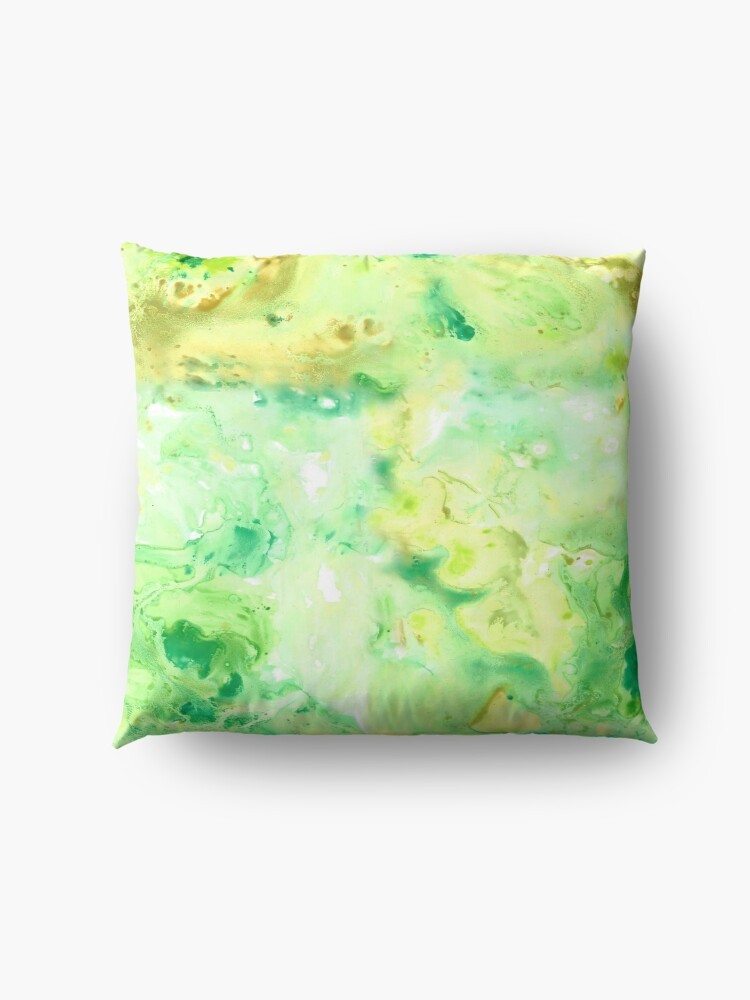 Alternate view of Green Marble Watercolour Floor Pillow