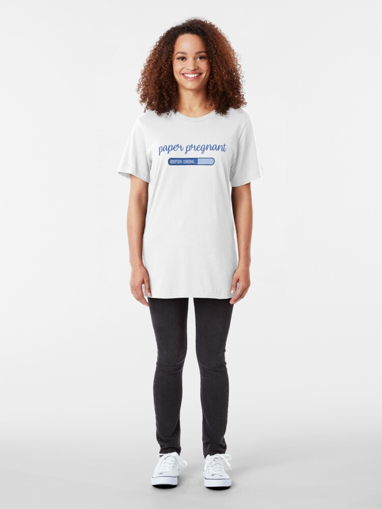 Alternate view of Paper Pregnant in Blue Adoption Shirt Slim Fit T-Shirt