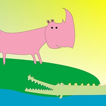 Crocolile and rhino by robertosch