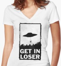Get In Loser Women's Fitted V-Neck T-Shirt