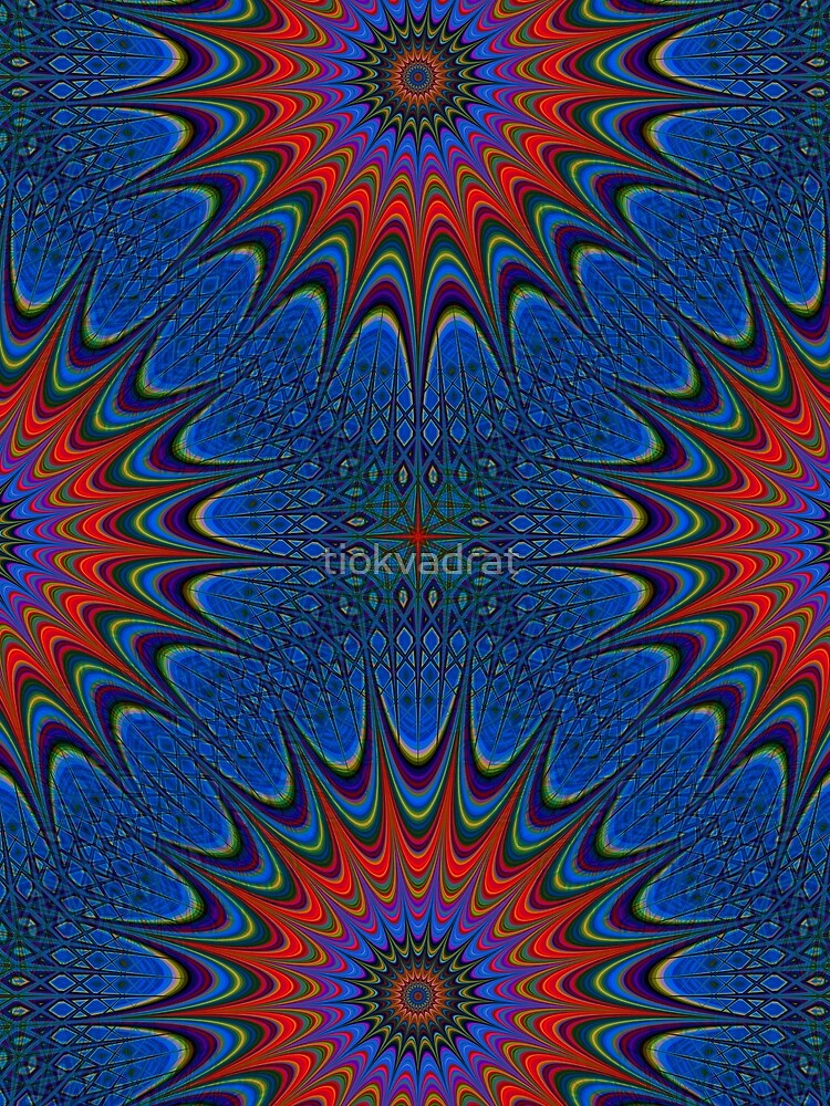 Mandala in Blue and Red. Stunning Psychedelic Gift by tiokvadrat