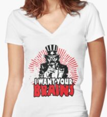 I want YOUR brains! Women's Fitted V-Neck T-Shirt