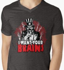 I want YOUR brains! Mens V-Neck T-Shirt