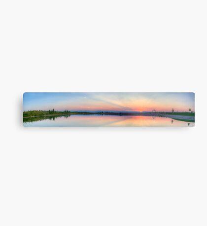 Rocky Mountain Sunset Series - Pink & Blue Mountains Panorama Metal Print