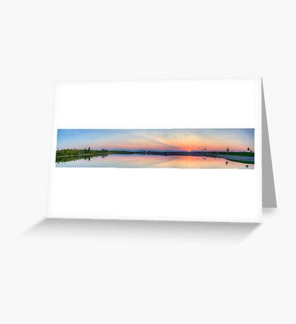 Rocky Mountain Sunset Series - Pink & Blue Mountains Panorama Greeting Card