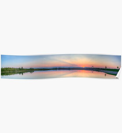 Rocky Mountain Sunset Series - Pink & Blue Mountains Panorama Poster