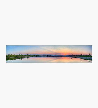 Rocky Mountain Sunset Series - Pink & Blue Mountains Panorama Photographic Print