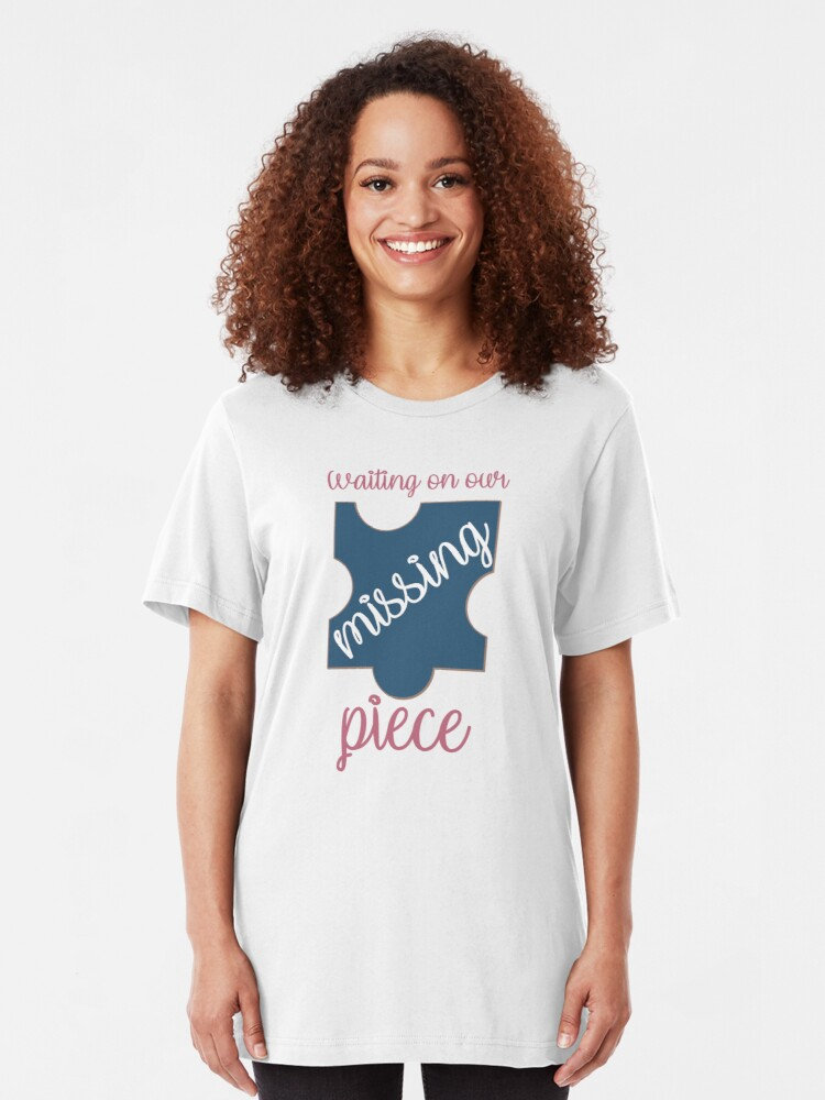 Alternate view of Waiting on Our Missing Piece Puzzle Adoption Shirt Slim Fit T-Shirt