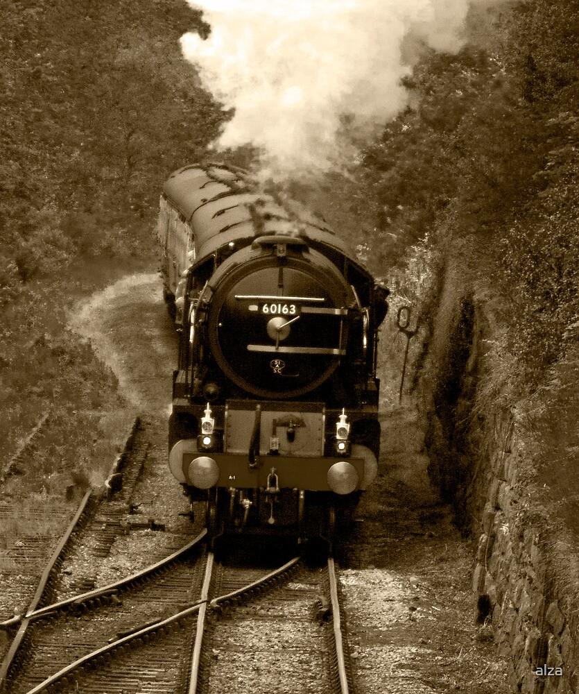 Tornado steam train in b&w by ANDREW BARKE