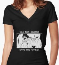 Kill the humans, save the forest Women's Fitted V-Neck T-Shirt