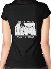 Kill the humans, save the forest Women's Fitted Scoop T-Shirt
