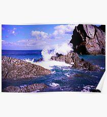 Devon rocky coast Poster
