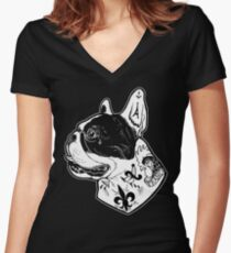 Tattooed French Bulldog Women's Fitted V-Neck T-Shirt