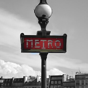 Paris Metro Sign B&W by aislingk