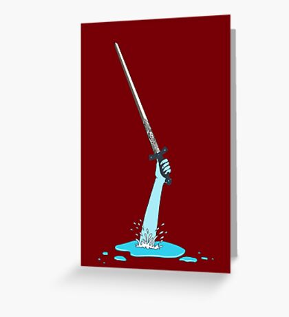 Excalibur and the Lady of the Puddle Greeting Card