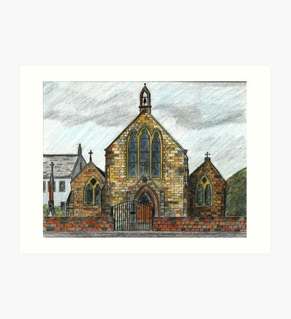 68 - ST. CUTHBERT'S R.C. CHURCH, COWPEN - DAVE EDWARDS - INK & COLOURED PENCILS - 1997 Art Print