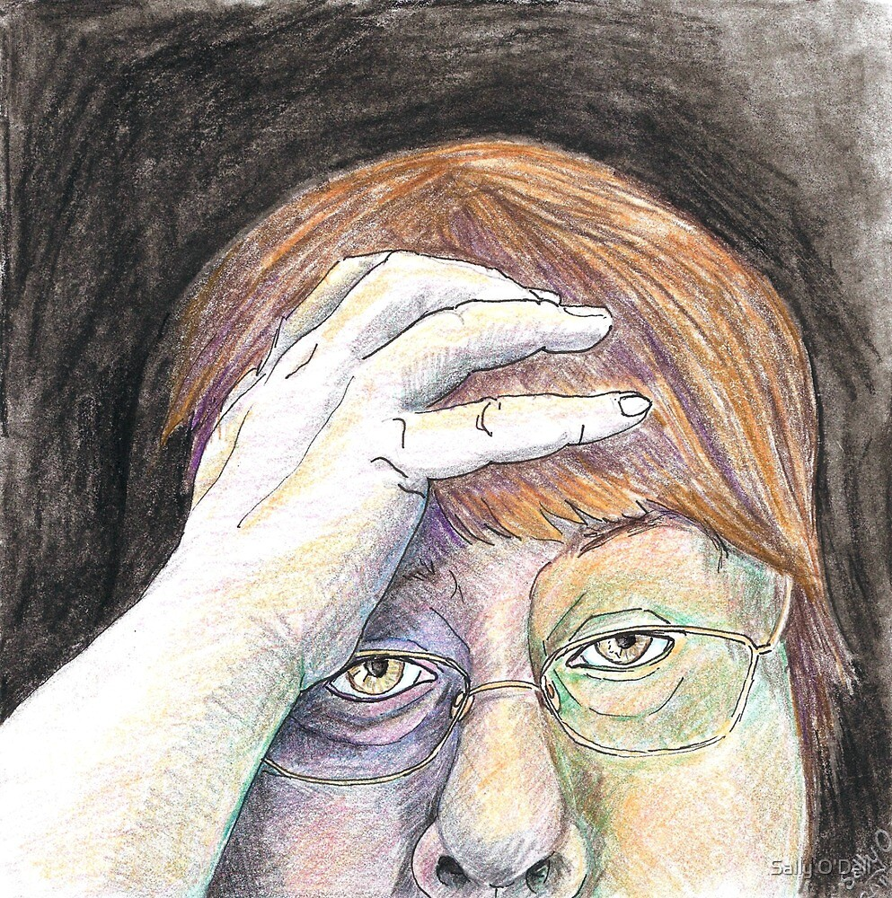 Oh no, not again!  self-portrait by Sally O'Dell