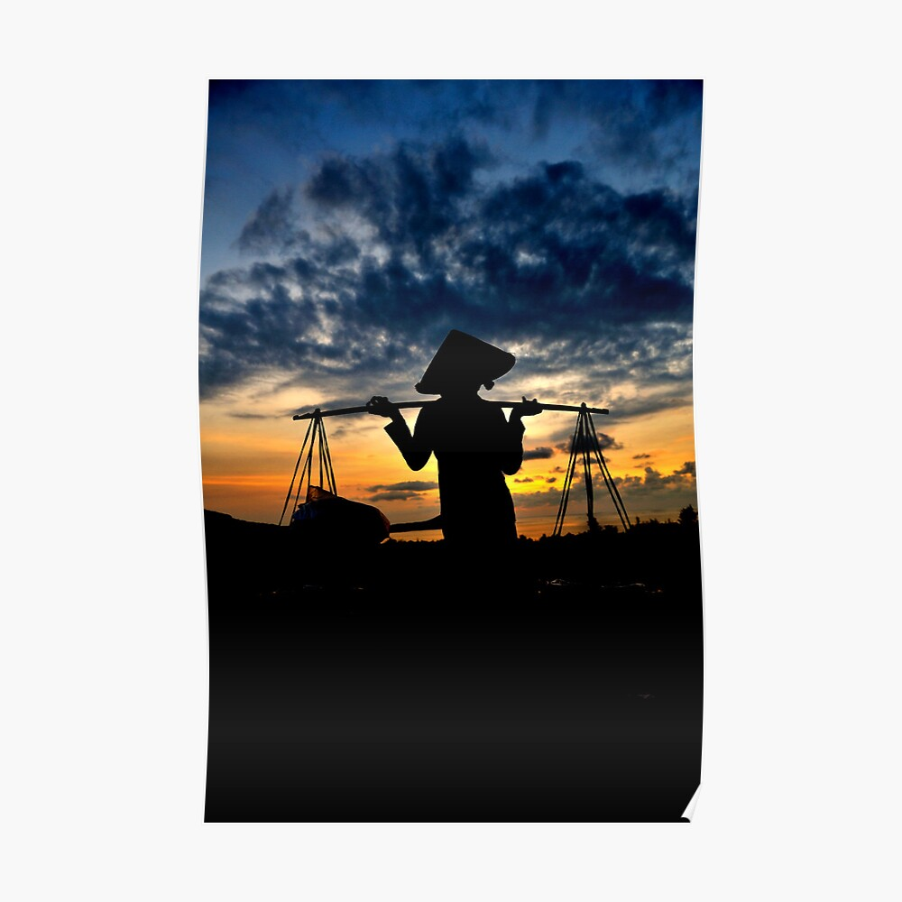 Quot Vietnamese Woman Carrying Don Ganh In Silhouette Quot Poster