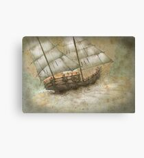 Boat in storm Canvas Print