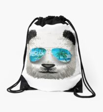 Cool Beach Panda Drawstring Bag