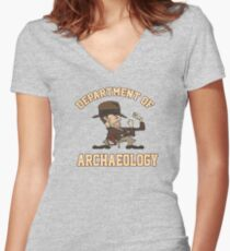 Dept. of Archaeology with Fighting Mascot Women's Fitted V-Neck T-Shirt