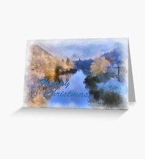 Gorge River Ironbridge Spring Snow Greeting Card