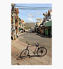 Old bicycle on footpath, Vung Tau, Vietnam Photographic Print