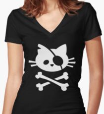 Pirate Cat: Skull and Crossbone Women's Fitted V-Neck T-Shirt
