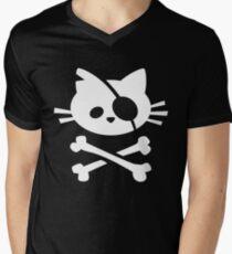 Pirate Cat: Skull and Crossbone Men's V-Neck T-Shirt