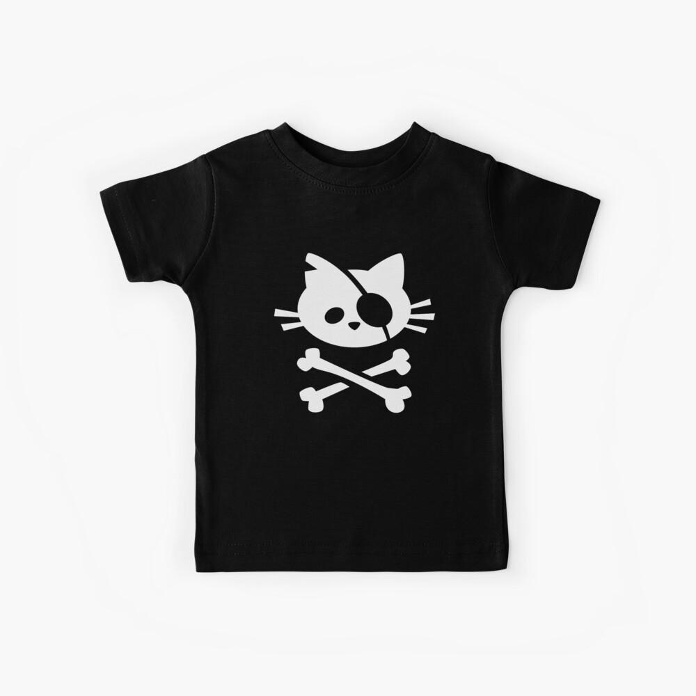 Lindo gato pirata: calavera y huesos cruzados Camiseta para niños